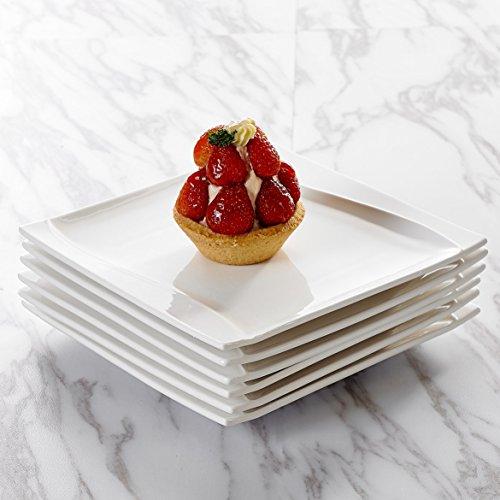 MALACASA, Serie Carina, 18 teilig Set Cremeweiß Porzellan Kuchenteller Dessertteller Frühstücksteller 20,5x20,5x2cm für 6 Personen