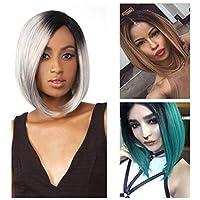 XueQing Pan ヨーロッパやアメリカの高温合成かつらショップシルクピンクのかつらボボの祖母グレーのグラデーションストレートの髪の短いパラグラフ (Color : Black+Pink)