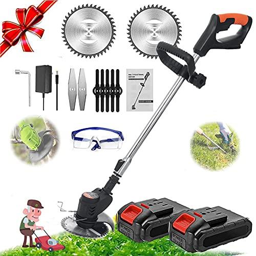 YUEWXTER Rasentrimmer mit Akku und Ladegerät, 21V Akku mit Messer Motorsense Elektro 650W, 90-120cm Teleskopstiel, für Rasenpflege, Auffahrt und Garten, 2 Batterie, 2 Tage