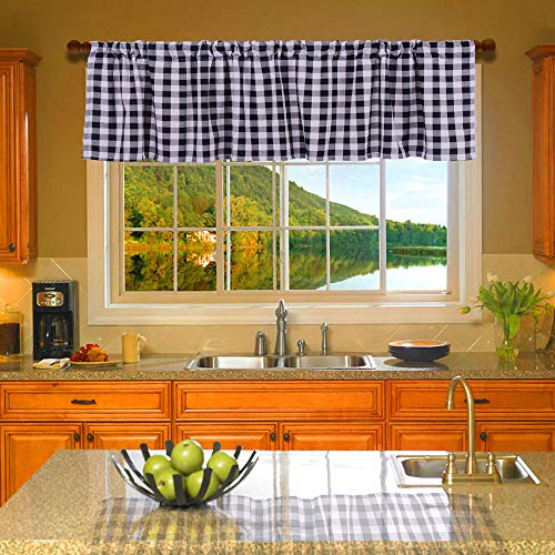 HTFD Black and White Buffalo Check, Window Valance, Courtyad Grommet Window Curtain Valances, for Kitchen, Living Room, 53 x 16 in, Pack of 2
