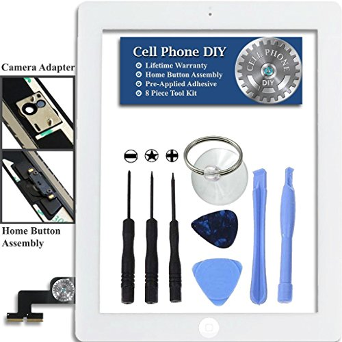 Cell Phone DIY White iPad 2 Digitizer Replacement Screen Front Touch Glass Assembly Replacement - Includes Home Button + Camera Holder + Pre-Installed Adhesive with Tools – Repair Kit