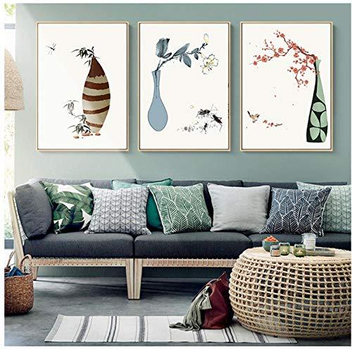SHUTIAOQUN beroemde Japanse bloempot van canvas, motief: vlinder, vogel, poster en printen, abstract, modern, HD, muurkunst, decoratie, 40 x 60 x 3 cm, zonder lijst