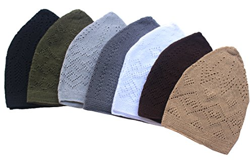 Al-Ameen 7X Islamic Muslim Knitting Kufi Topi Prayer Hat Crochet Taqiyah Takke Skull Cap