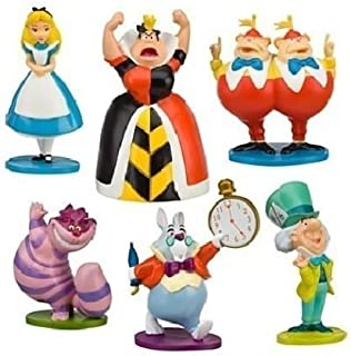 Shallen New Alice in Wonderland Playset 6 Figure Figurines Cake Topper Mini Toy Doll Set
