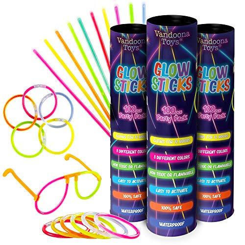 "VANDOONA 300pk Glow Sticks Bulk Party Favors Supplies Fun Pack | 8"" Glowsticks & Connectors Neon Party Bracelets, Necklaces for Kids & Adults | 6 Bonus Glow in The Dark Sunglasses Connectors Included"