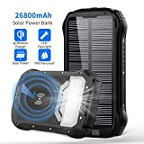 Solar Charger 26800mAh, Qi Wireless Portable Solar Power Bank with 4 Outputs & Dual Inputs Type-C, Waterproof External Backup Battery Pack with 18 LED Flashlight for Smart Phone (Black)