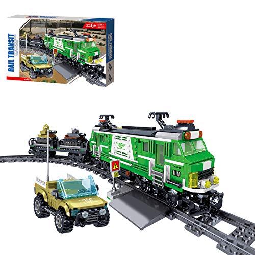 Fujinfeng Treno Merci City Trains, 890 Pezzi City Treno Merci Express Costruzioni - Equipaggiamento Armato Che Trasporta Il Treno Assemblato, Compatibile con Lego