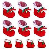 hootecheu 20 Stück Nikolausstiefel zum Befüllen Weihnachtsdeko Rot Klein Plüsch Stoff Weihnachtsstiefel Set Adventskalender Kinder Bonbons Süßigkeiten Weihnachtssocken