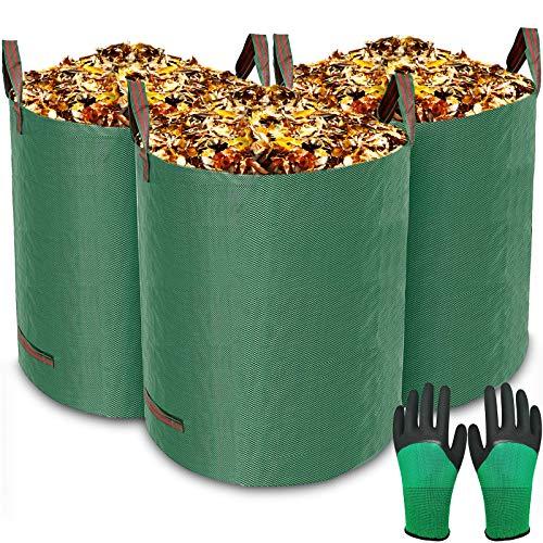 MOOING 3er Set Gartensack, 300 L Gartenabfallsack aus robustem Wasserdichtes Polypropylen-Gewebe (PP) - Selbststehend und Faltbar Laubsäcke,Abwaschbar,inkl 1 Paar Gartenhandschuhe