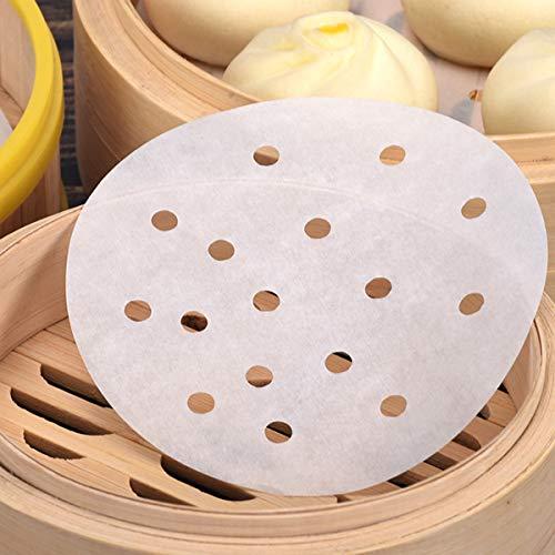 250 Stück Dim Sum Papier als Unterlage für Bambusdämpfer, Heißluftfritteuse, Dampfgarer Airfryer Liners, antihaftbeschichtet, rundes Backpapier Perforiertes Bambus Papier (9Zoll/22.9cm)