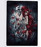 Rompecabezas 1000 piezas de rompecabezas de madera Puzzles de madera Rompecabezas gótico de pelo rojo mujer calavera calavera rosa roja 60MDF tablero