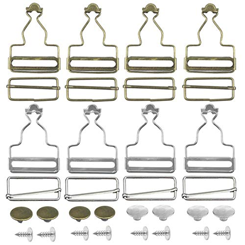 8 Sets Metall-Hosenträgerschnallen mit rechteckigen Schiebeverschlüssen für Hosenträger, Träger, Latzhosen, Handtaschen, Jacken, Overalls