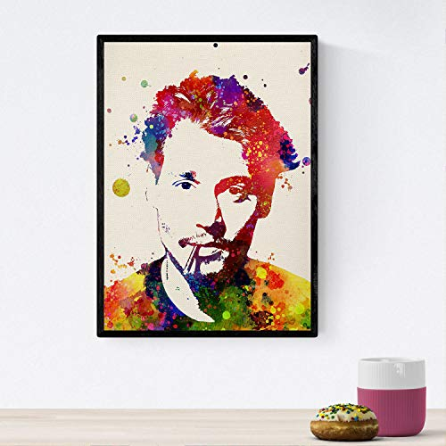 Poster Nacnic image. Johnny Depp Watercolor design posters with celebrities, actors, musicians, and familiar characters. 8'x11' size