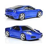 UrChoiceLtd Ferrari F430coche ratón inalámbrico 2.4G 1600dpi USB Optical Gaming ratón para portátil Mac (azul oscuro)
