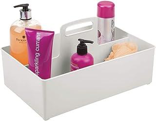 mDesign Organizer Bagno a 2 Scomparti – Scatola portaoggetti con Maniglia Perfetta per Shampoo, balsamo, Creme e Molto Altro – Contenitore in plastica Senza BPA – Grigio Chiaro