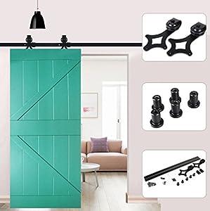 Herrajes Puertas Correderas, Guia Puerta Corredera kit 6.6Ft 200cm o 6Ft 183cm Juego de Piezas de Metal Rieles Rodillo Rueda de la Puerta (Ciruela, 6Ft 183cm)