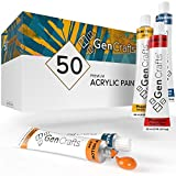 GenCrafts Acrylic Paint Set - Set of 50 Premium Vibrant Colors - (22 ml, 0.74 oz.) - Quality Non Toxic Pigment Paints for Canvas, Fabric, Wood, Crafts, and More