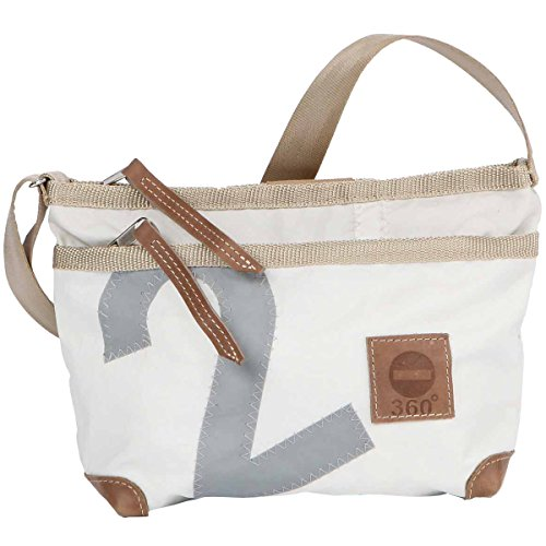 360° Deern Lütt Umhängetasche Segeltuch, kleine Recycling Shopper Handtasche Damen, weiß, Zahl grau, Schultertasche Tragetasche Strandtasche Messenger Bag