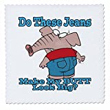 3dRose qs 103865 2 Butt Look Big Elephant in Jeans Cartoon-Quilt Square, 6