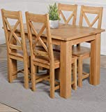 OAK FURNITURE KING Hampton 120cm -160cm Oak Extending Dining Table and 4 Chairs Dining Set with Berkeley Oak Chairs