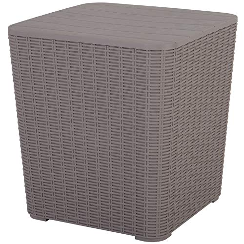 Outsunny 50L Outdoor Patio Rattan Effect Wicker Knit Square Coffee Table Bar Table Garden Furniture Bucket - Grey