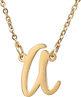 AOLO Initial Necklace 26 Letters from A-Z Stainless Steel Silver and Gold Color