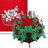 'Pop Up tarjeta 'rosas–3d tarjeta Flores Bouquet de rosas, tarjeta, puede & elegante boda tarjeta, tarjeta de Valentin, flores felicitación