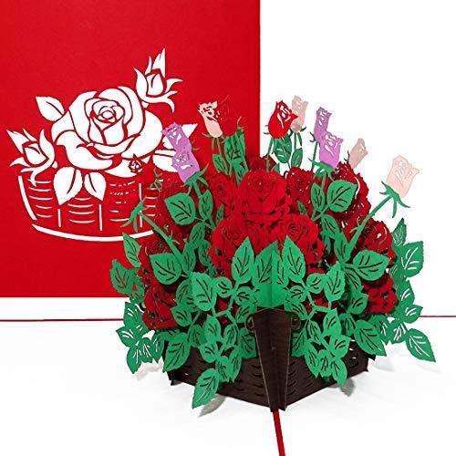 """Pop Up Karte\""""Rote Rosen\"""" - edle 3D Karte mit Umschlag als Hochzeitskarte, Geburtstagskarte, Dankeskarte & Glückwunschkarte – als kleines Geschenk oder Geschenkverpackung zu Geburtstag, Hochzeit"""