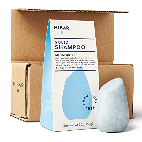 HiBAR shampoo bar with zero waste packaging and shipping. Fragrance-free MOISTURIZE for dry or damaged hair. Eco-friendly, all natural, and plastic free.