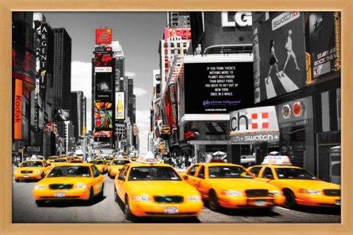 Poster mit Rahmen 61 x 91,5 cm, Holz Buche - Times Square - yello cabs day gerahmt - Antireflex Acrylglas
