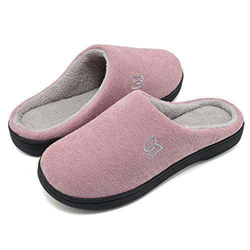WateLves Damen Hausschuhe Winter Baumwolle Wärme Pantoffeln aus Memory-Baumwolle für Herren Unisex im Drinnen und Draussen (Rosa/Grau, 40/41 EU)