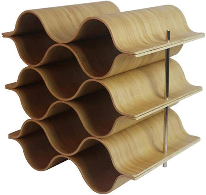 Red Wine Shelf Wave Wine Rack, Solid Wood, Table Wine Storage,6Bottles (Size   9Bottles)
