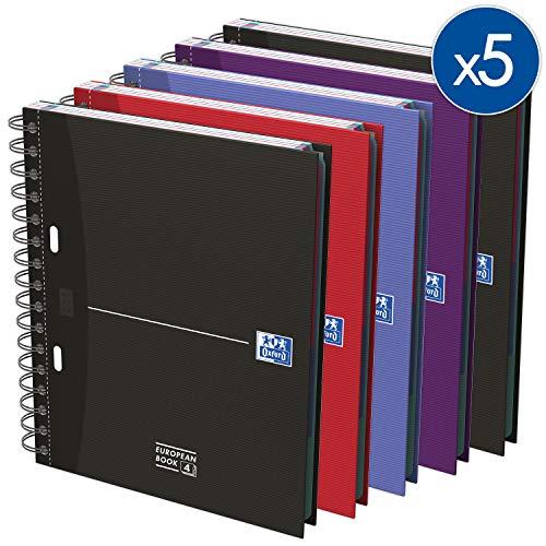 Oxford 100104738 European Book A4 kariert 5er Pack mit vier Farben 120 Blatt mit Hardcover, Register und Doppelspirale