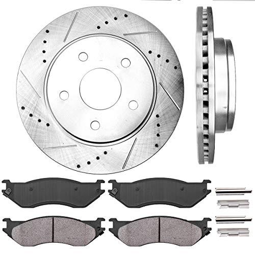 Callahan CDS02007 FRONT 336 mm Premium D/S 5 Lug [2] Brake Disc Rotors + [4] Ceramic Brake Pads + Hardware