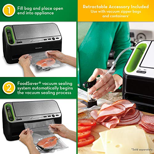 Foodsaver V4400 2-in-1 Vacuum Sealer Machine with Automatic Bag Detection and Starter Kit | Safety Certified | Black and Silver