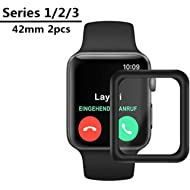 hairbowsales Compatible [2 - Pack] for Apple Watch 42mmTempered Glass Screen Protector,...