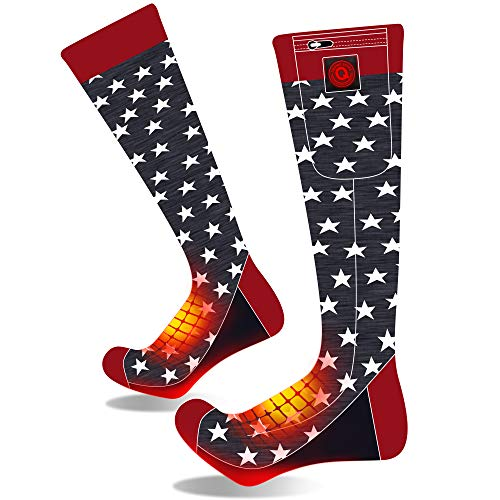 QHonyds 7.4V Heated Socks for Men/Women-Rechargeable Electric Battery Heat Socks,Winter Warm Novelty Heat Insulated Sox Kit,Thermo Skiing Heat Stockings Hunting Climbing Hiking Foot Warmer Socks