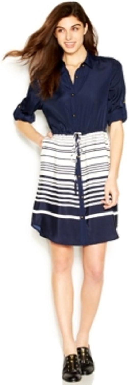 Maison Jules White Women's Striped Drawstring Shirt Dress bluee XS