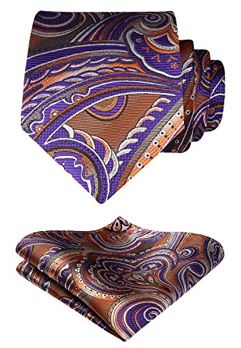 HISDERN Floral Paisley Wedding Tie Handkerchief Woven Classic Men's Necktie & Pocket Square Set Brown & Purple