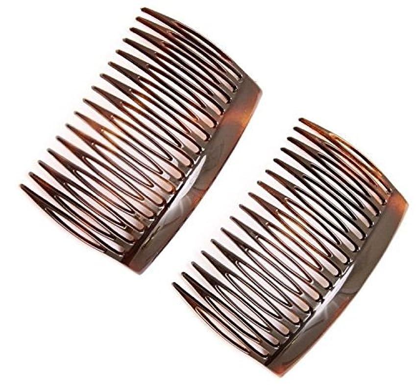 蒸留する付与次Parcelona French 2 Pieces Glossy Celluloid Shell Good Grip Updo 16 Teeth Hair Side Combs -2.75 Inches (2 Pcs) [並行輸入品]
