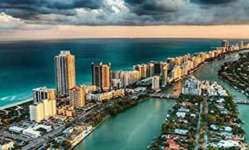Miami, Florida - Aerial View Of Miami Beach Skyline - Photography A-93942 (9x12 Fine Art Print, Home Wall Decor Artwork Poster)