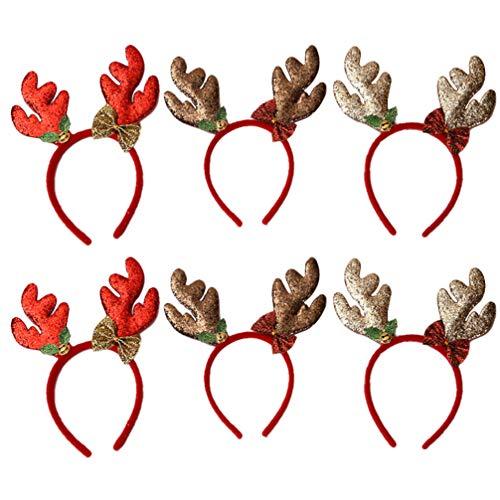 TOYANDONA Weihnachtsstirnbänder Rentiergeweih Stirnband Haarbügel für Weihnachtskostüm Party Fotos Stand - 6Er Pack