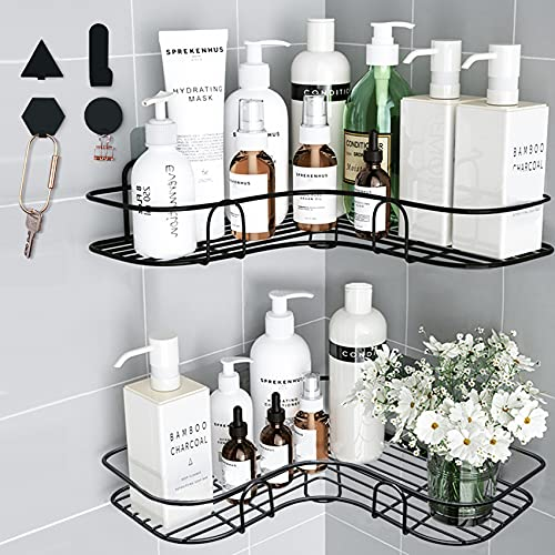 Huryfox 2Pack Corner Shower Caddy Hanging Bathroom Shelf, Rust Proof Bathtub Accessories Organizer, Adhesive Basket Storage Rack Shampoo Holder Wall Organization (Black)