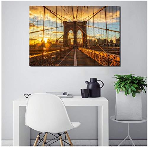 MULMF Brooklyn Bridge Sonnenuntergang New York City Leinwand Poster Drucke Wandkunst Gemälde Dekoratives Bild Wohnzimmer Dekoration- 40X60Cm Kein Rahmen
