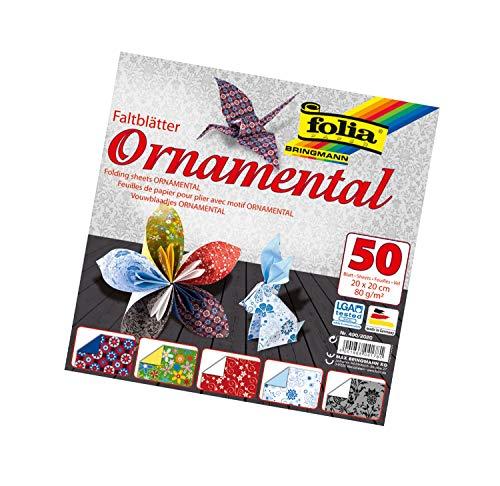 folia 490/2020 - Faltblätter Ornamental, 20 x 20 cm, 80 g/qm, 50 Blatt sortiert in 5 Motiven - ideal für wunderschöne Faltfiguren und -formen