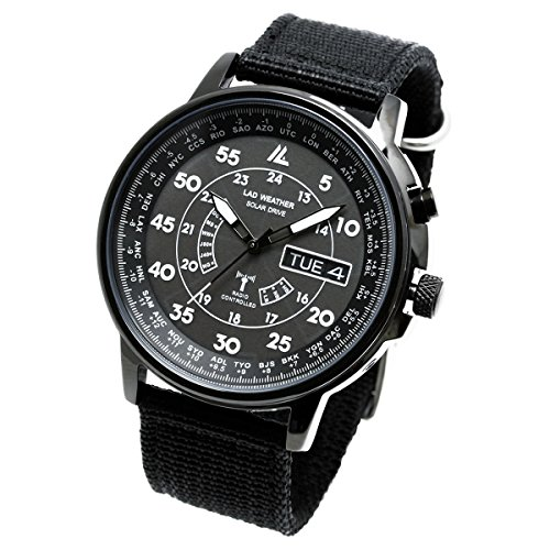 Lad Weather Radio Controlled Watch Solar Powered Perpetual Calendar Multi Timezone Battery Rechargeable Military Business Travel (All Black)