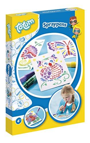 Totum Sprühstifte Kreativ-Set mit verschiedenen Schablonen, 5 bunten Sprühstiften und 1 Malblock