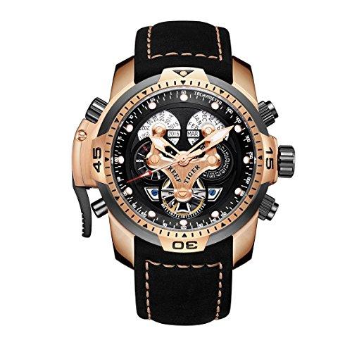 REEF TIGER Herren Uhr analog Automatik mit Leder Armband RGA3503-PBBLG