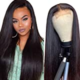 Beauhair 4x4 Lace Front Wigs Straight Hair Brazilian Virgin Human Hair Lace Closure Wigs For Black Women 150% Density Pre Plucked With Elastic Bands Natural Color (24 inch, straight wig)