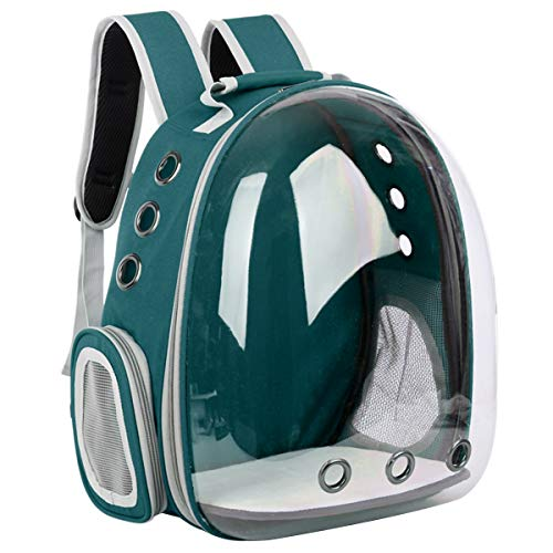 YiYa Bolsa de Transporte Gato Portador de Perros Portátil Transparente para Mascotas Bolsa de Espacio Transpirable Cápsula Bubble Mochila para IR de Compras Senderismo Caminar Ciclismo, Verde